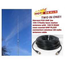 Harvest F23 VHF 2m 144-174mhz base station antenna with100Ft Coax Cable