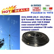 Sirio 2008 (26.4 - 28.2 Mhz) 5/8 Tunable 10m & CB Base Antenna with 100Ft Coax