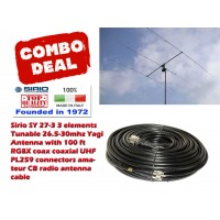 Sirio SY 27-3 3 elements Tunable 26.5-30mhz Yagi Antenna with 100 ft RG8X coax coaxial UHF PL259 connectors amateur CB radio antenna cable