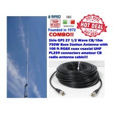 Sirio GPS 27 1/2 Wave CB/10m 750W Base Station Antenna with 100Ft Coax Cable