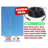 Sirio 2016 (26.4 - 28.2 Mhz) 5/8 Tunable 10m & CB Base Antenna and 100Ft Coax