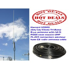 Harvest V2000 (6m/2m/70cm) Tri-Band Base antenna with Taurus 50 Ft Coax Cable